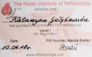 certifies for katarzyna golebiewska has successfuly completed foot reflexology